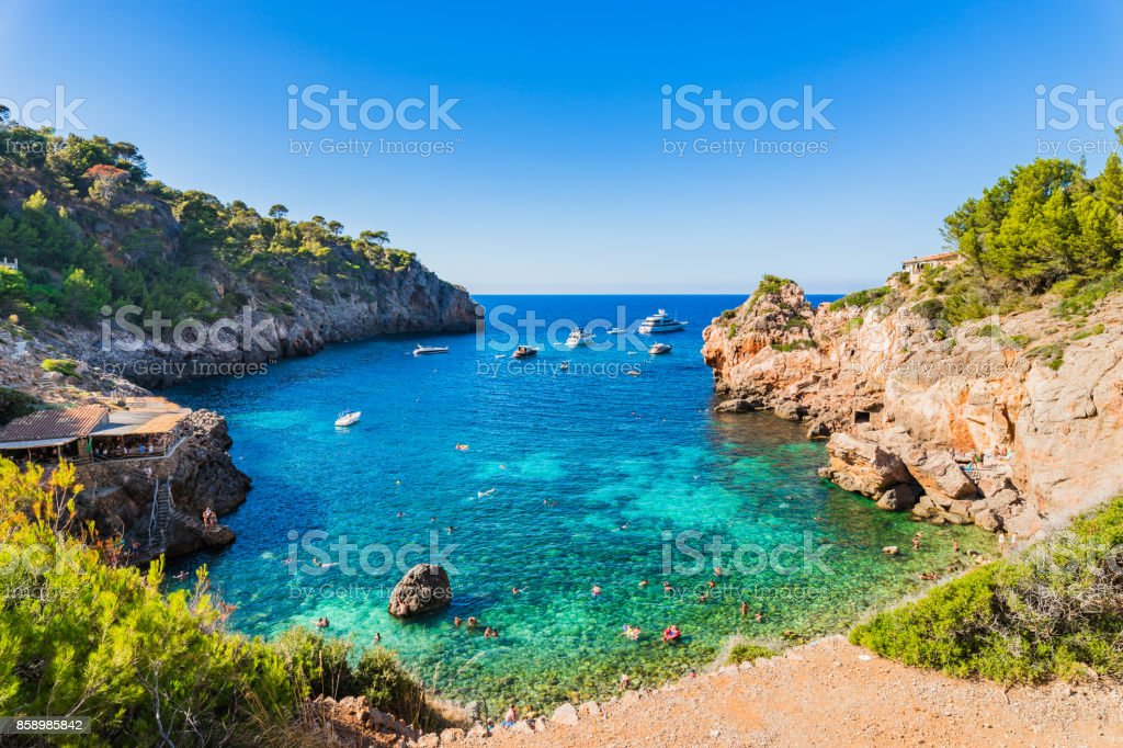 Majorca Spain, stunning bay beach of Cala Deia, Balearic Islands stock photo