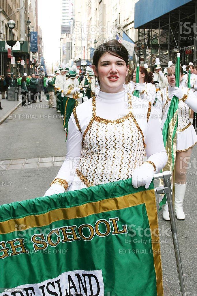 Majorette en Saint Patricks Day Parade - foto de stock