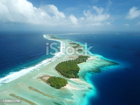 Majuro atoll and Majuro town in Marshall islands