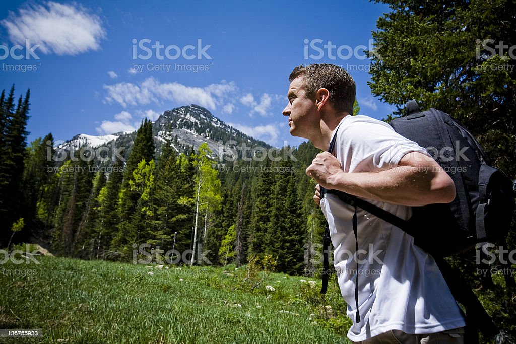 Mak Hiking in Mountains royalty-free stock photo