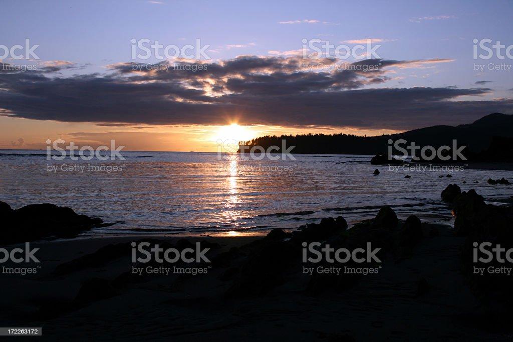 Makah Bay Sunset stock photo