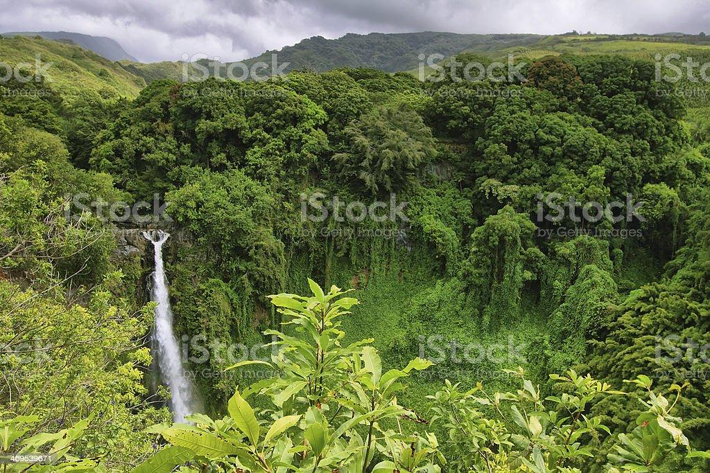 Makahiku falls stock photo