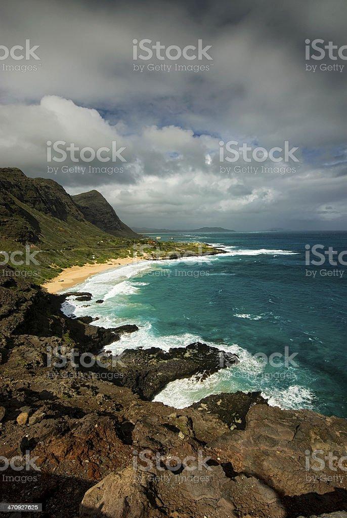 Makapuu Beach from the lookout, Oahu, Hawaii stock photo