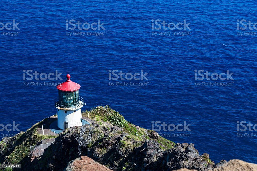 Makapuu Lighthouse on Ohau Island in Hawaii stock photo