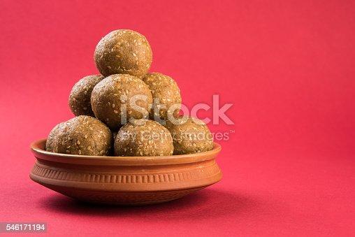 istock Makar Sankranti sweet tilgul or til gul laddu or laddoo 546171194