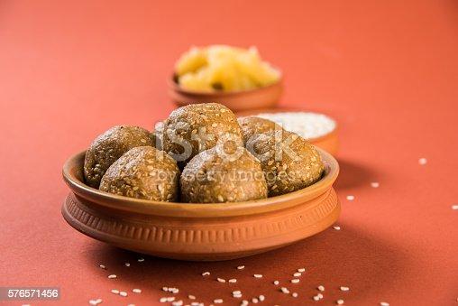 istock Makar Sankranti sweet tilgul or til gul laddu or laddoo 576571456