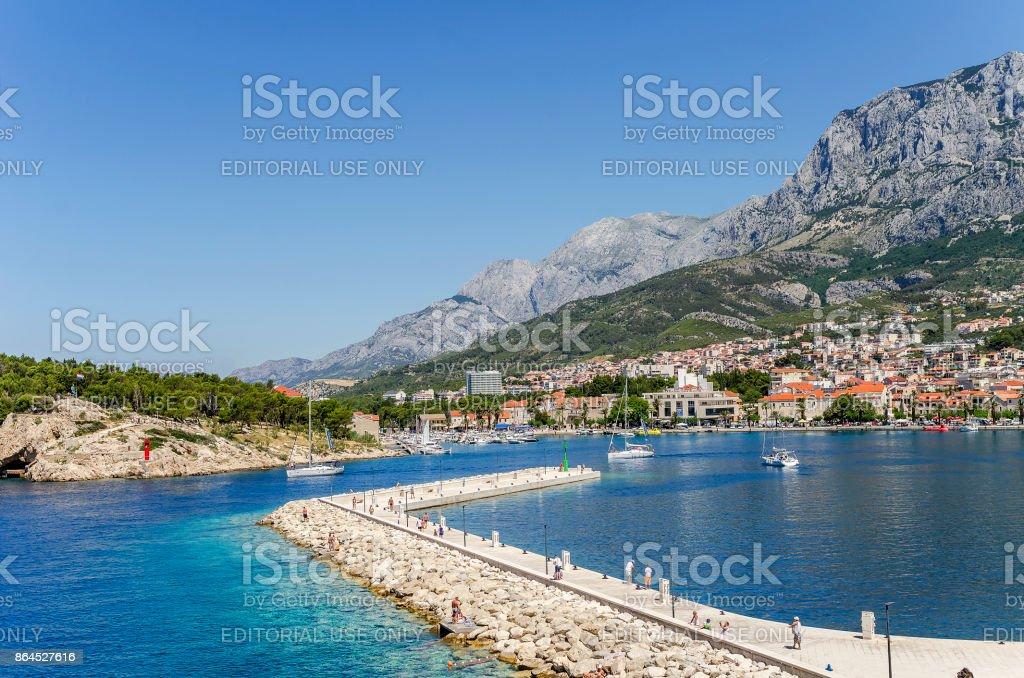 Makarska city croatia port quay. stock photo