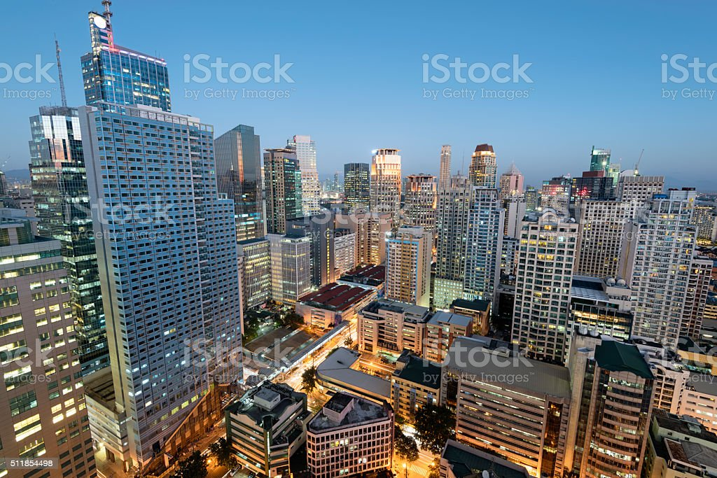 Makati Skyline, Metro Manila stock photo