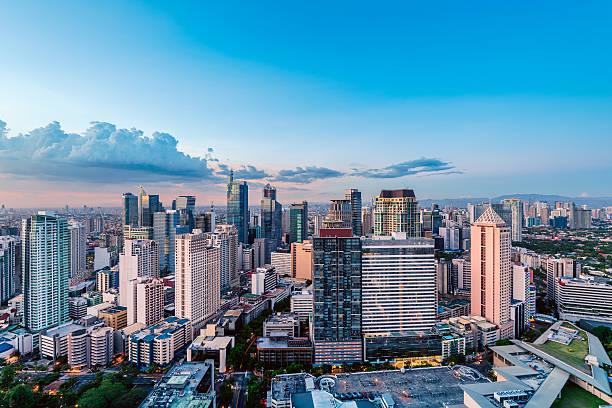 skyline makati, metro manila - mercato luogo per il commercio foto e immagini stock