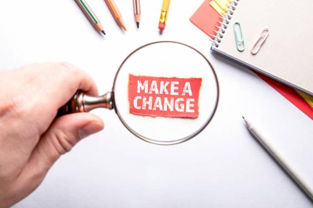 Nehmen Sie eine Änderung vor. Projekt, Pläne, Trends und Vertriebskonzept – Foto