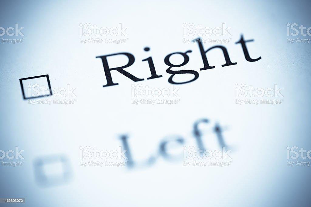 Make a choice Right or Left, Selenium Tone stock photo