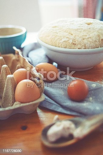 istock Make a fresh yeast dough in the kitchen 1157726030