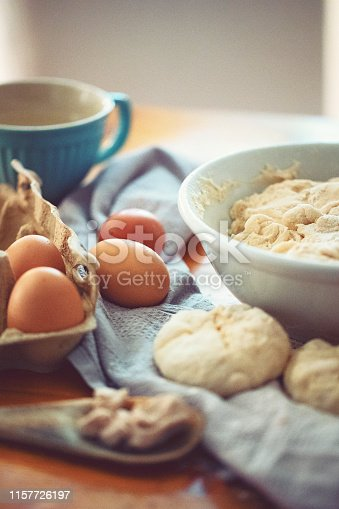istock Make a fresh yeast dough in the kitchen 1157726197