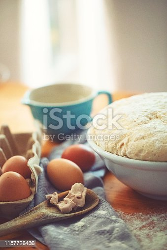 istock Make a fresh yeast dough in the kitchen 1157726436