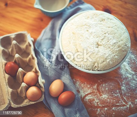 istock Make a fresh yeast dough in the kitchen with love 1157725730