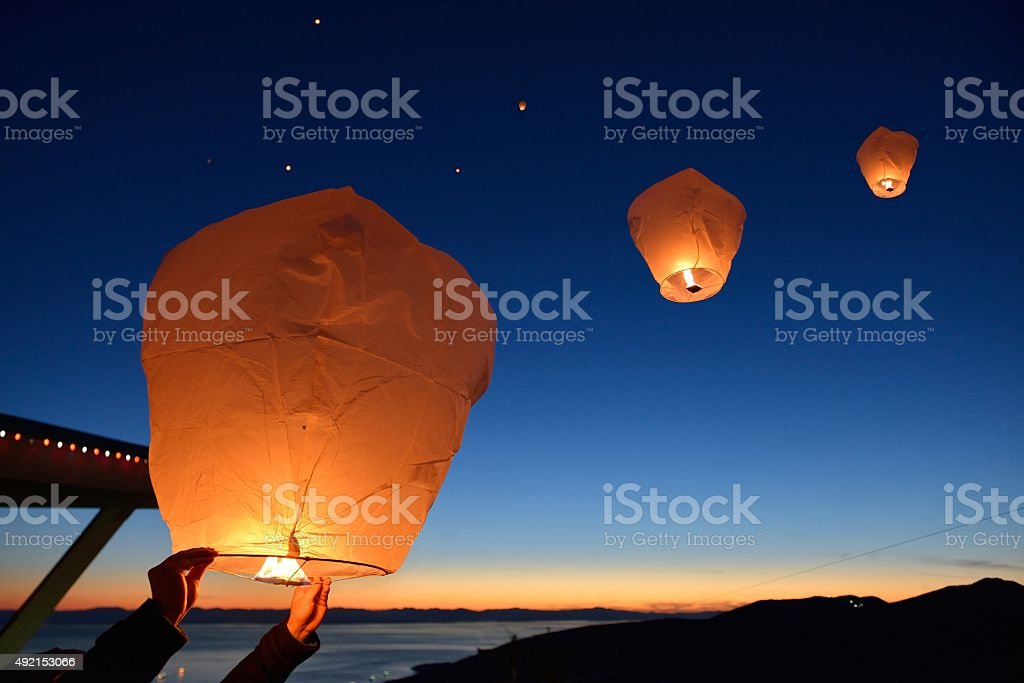 Make a wish, Paper Floating Lanterns release on Grouse Mountain stock photo