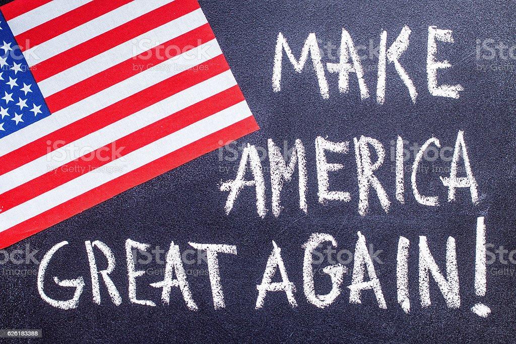 Make America great again  on the chalk board stock photo