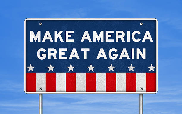 Make America great again - road sign concept stock photo