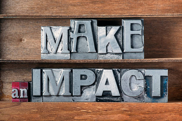 make an impact tray make an impact phrase made from metallic letterpress type on wooden tray impact stock pictures, royalty-free photos & images