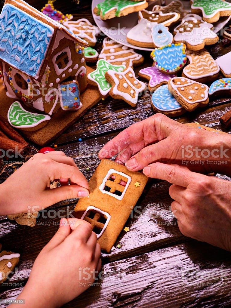 Make Gingerbread House. stock photo