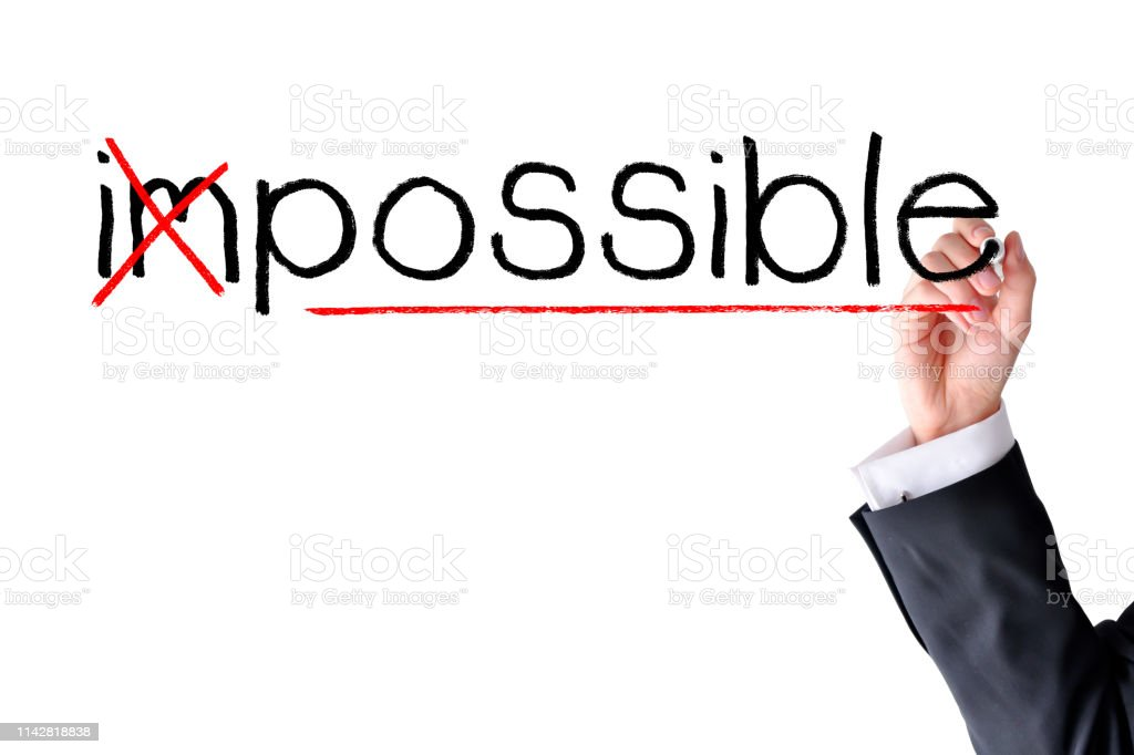 Make it possible concept, with woman handwriting on white background