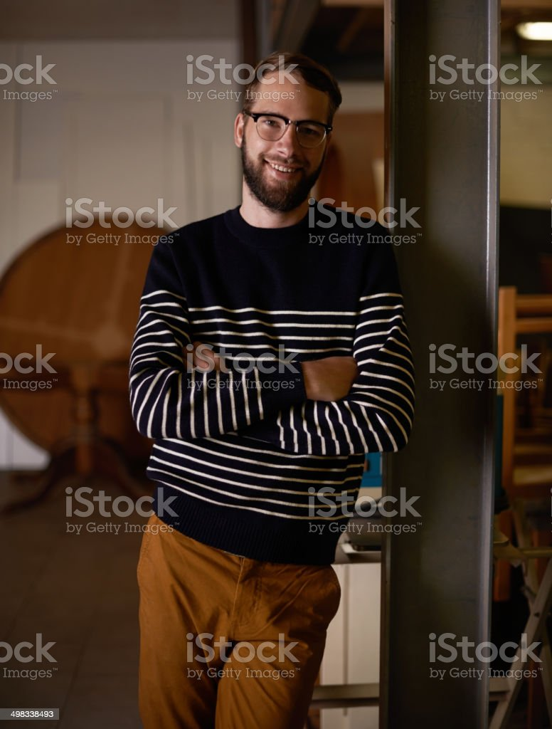 I make looking cool easy stock photo