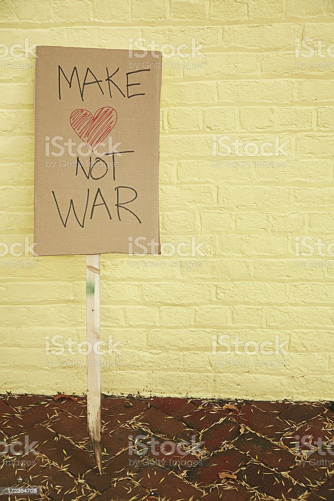 Make Love Not War Yellow royalty-free stock photo