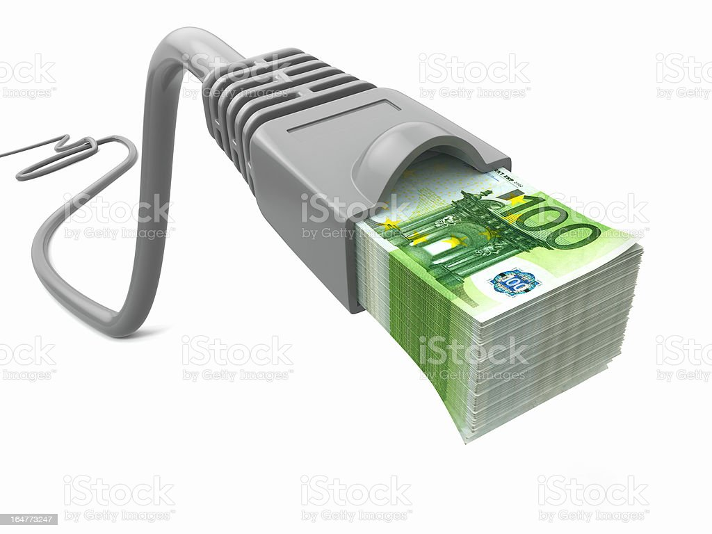 Make money online. Concept. Internet cable with euro royalty-free stock photo
