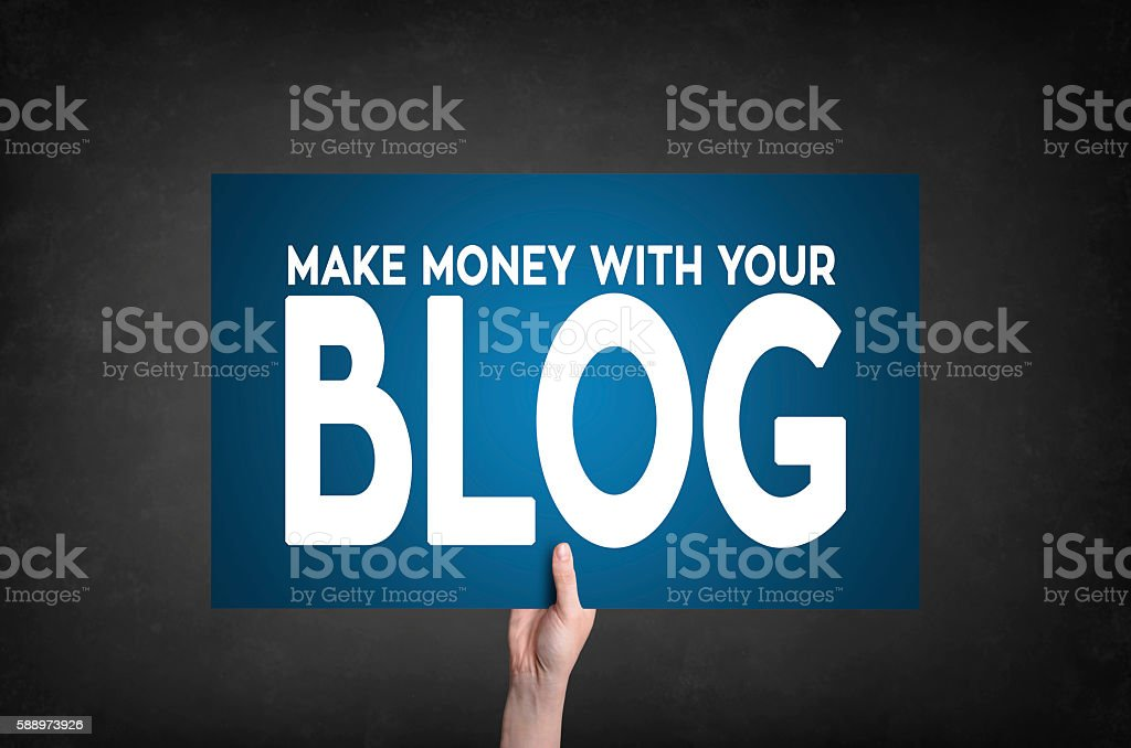 Make money with your blog card stock photo