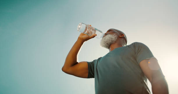 Make sure you're hydrated after exercising stock photo