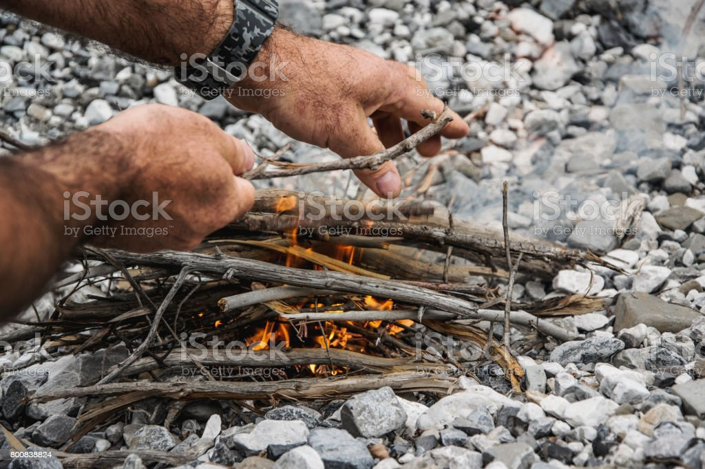 Make the  fire in nature stock photo