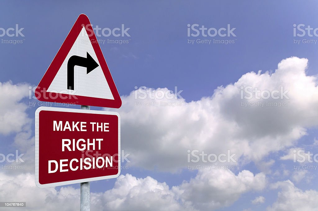 Make the Right Decision signpost royalty-free stock photo