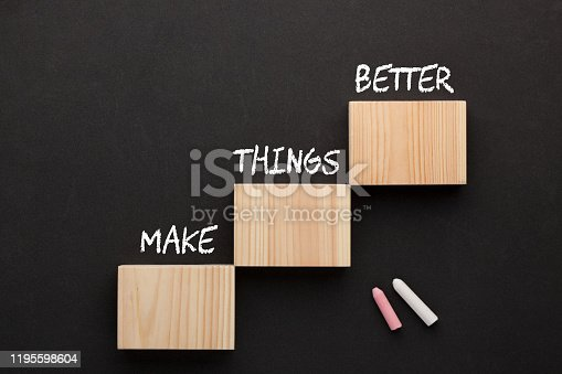 The words Make Things Better on wooden blocks in the shape of a staircase. Business Concept.