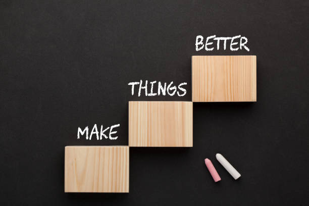 Make Things Better The words Make Things Better on wooden blocks in the shape of a staircase. Business Concept. manufactured object stock pictures, royalty-free photos & images
