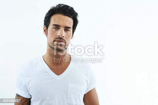 Shot of handsome man wearing a white t-shirt