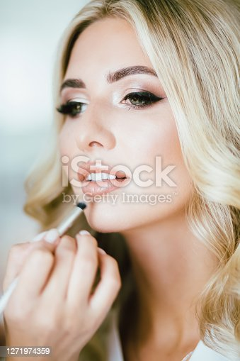 perfect make up in progress. Makeup,manicure and cosmetic.