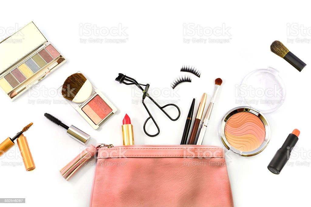 make-up-Tasche mit Kosmetik – Foto