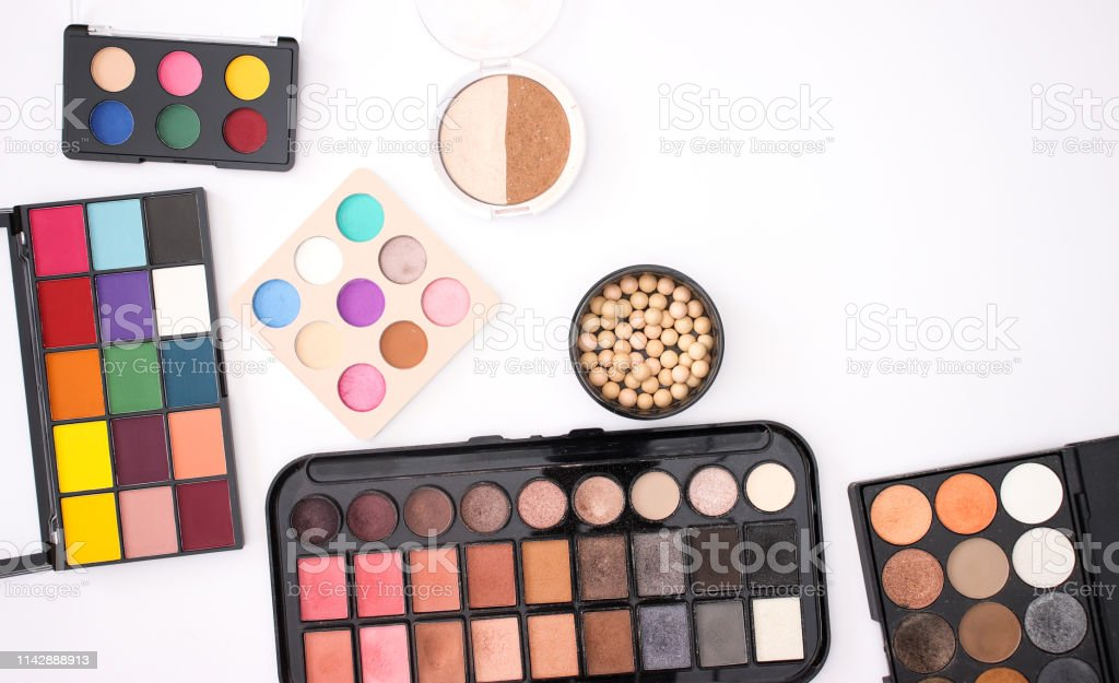 Make up products cosmetics and beauty products for woman on white...