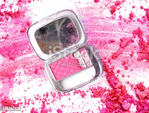 861986852 istock photo Make up box color powder on crushed pink powder 848584808