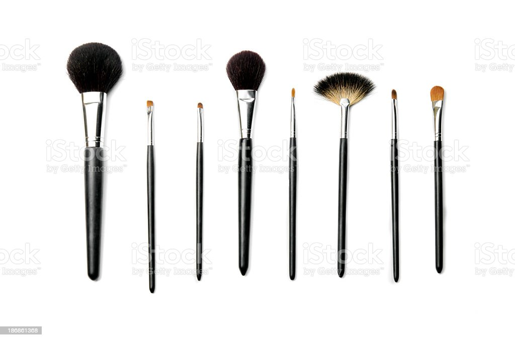 Make up brushes, isolated on white stock photo