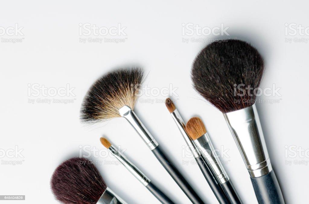 Make up brushes, isolated on white stock photo