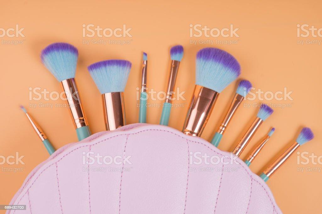 Make up brushes isolated  pastel background stock photo