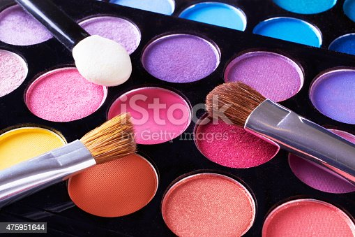 istock Make up. Cosmetics. Eye-shadow pallete with blushes. 475951644