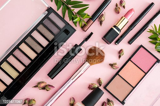 istock Make up cosmetics products against pink color background 1221677097
