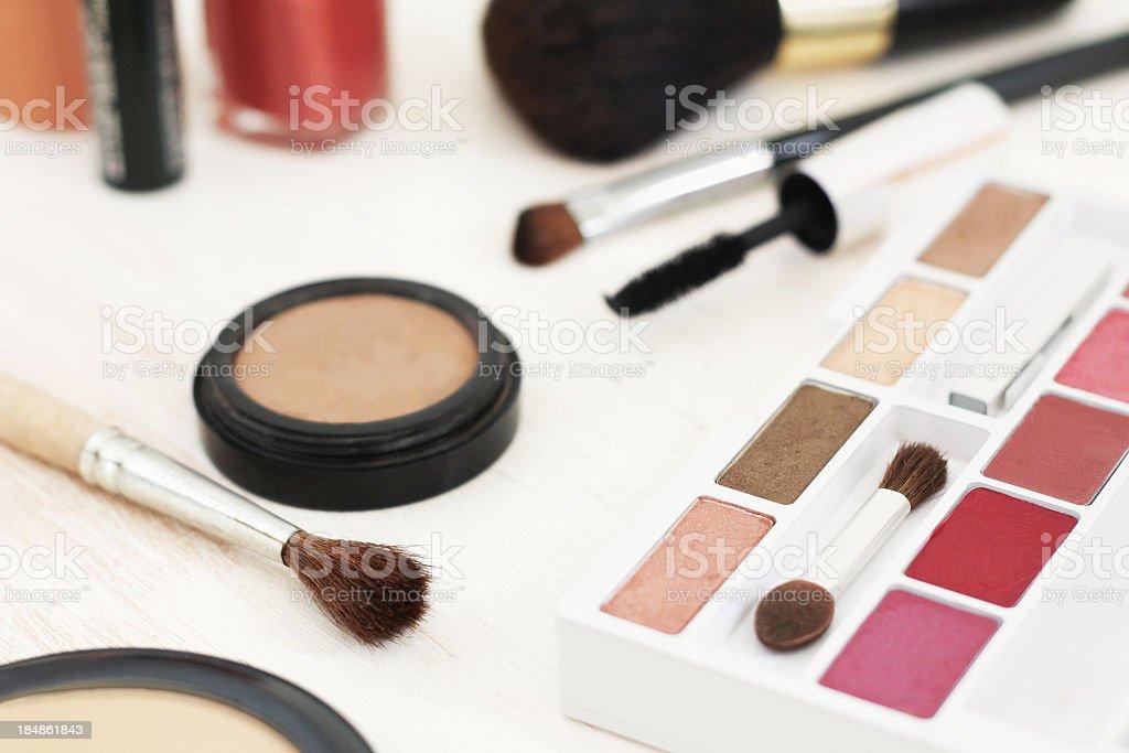 Make up eyeshadow, blush, face powder and brushes on white royalty-free stock photo