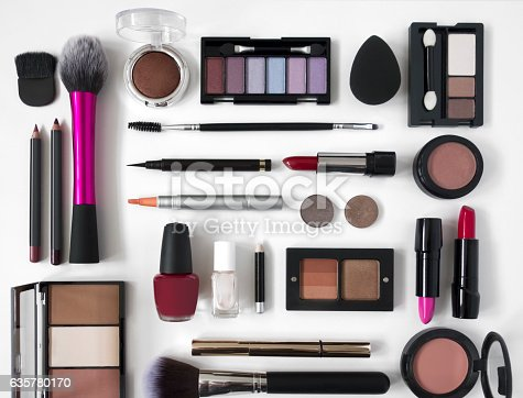 looking down on make up equipment with copy space in the middle