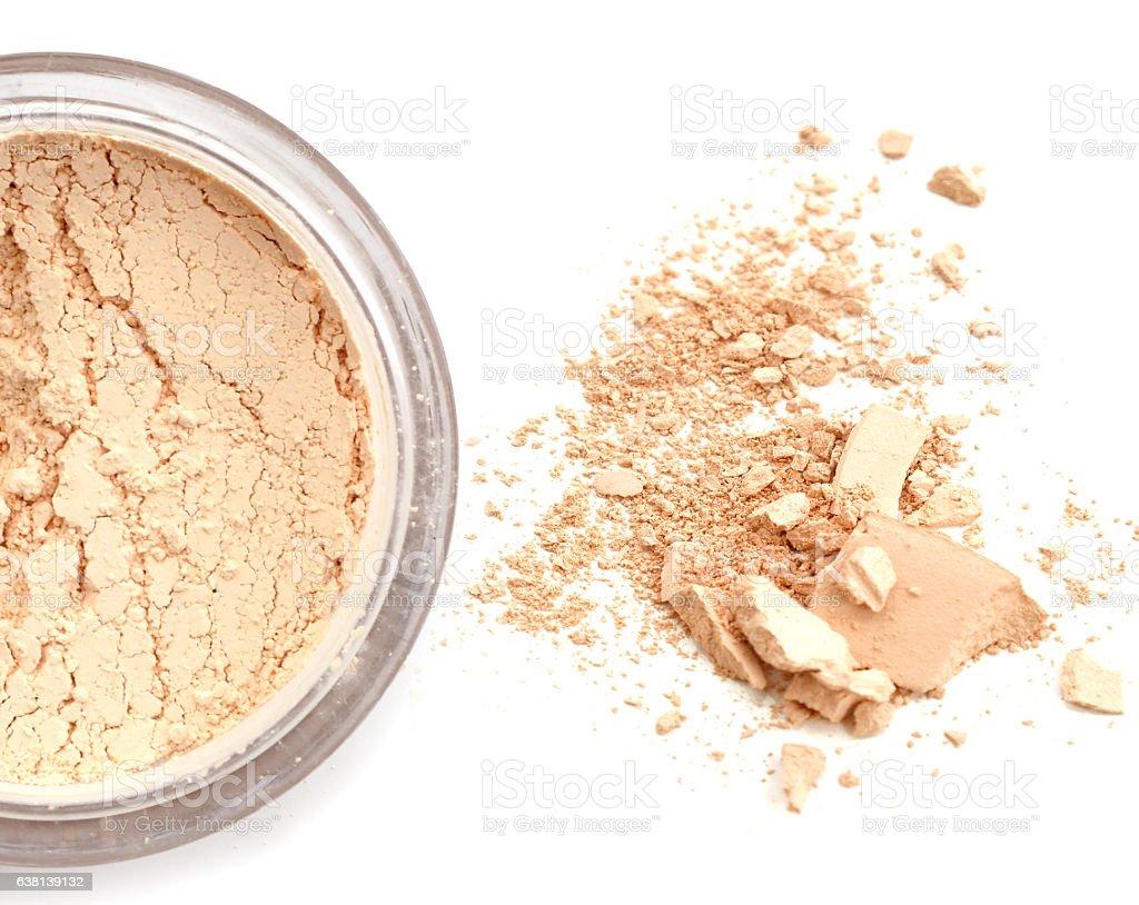 make up loose cosmetic powder close up stock photo