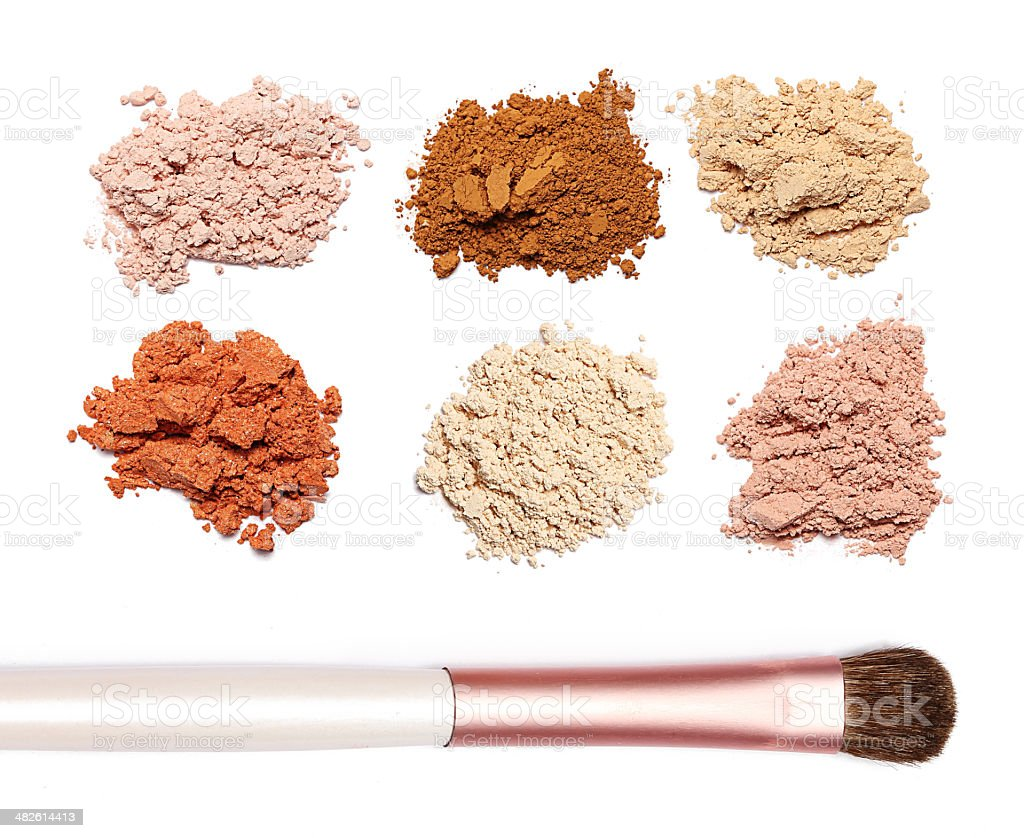 make up powder sweet color and brush on white background stock photo