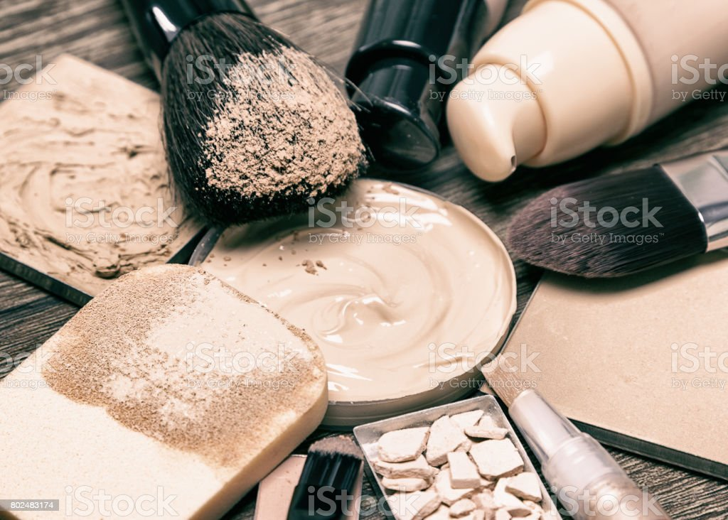 Make up products for flawless complexion stock photo