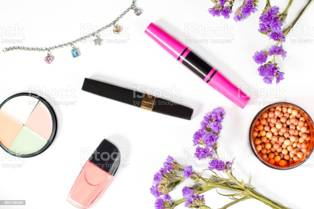 Make up products on a white background stock photo